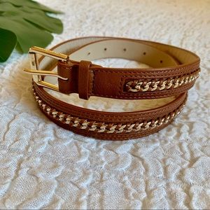 Cole Haan chain link leather brown belt